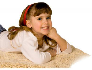 Little Girl Smiling on Clean Carpet-A Company You Can Trust